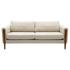 Off White Sofa with Walnut Legs by Nuevo, Almost New