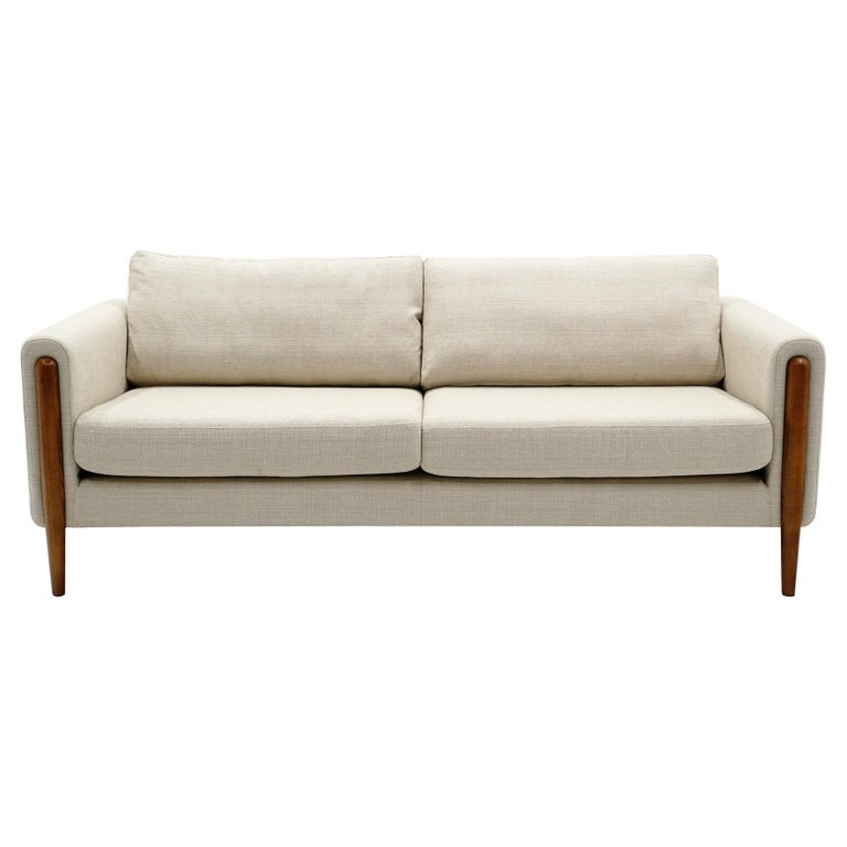 Off White Sofa with Walnut Legs by Nuevo, Almost New For Sale