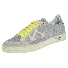Off-White Virgil Abloh Arrow  Silver Glitter Leather And Suede Sneakers Size 38