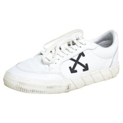 Off-White White Leather Vulcanized Low Top Sneakers Size 42