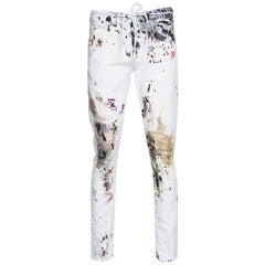 Off-White White Paint Splatter Denim Slim Fit Jeans M