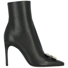 Off-White Woman Ankle boots Black Leather IT 38