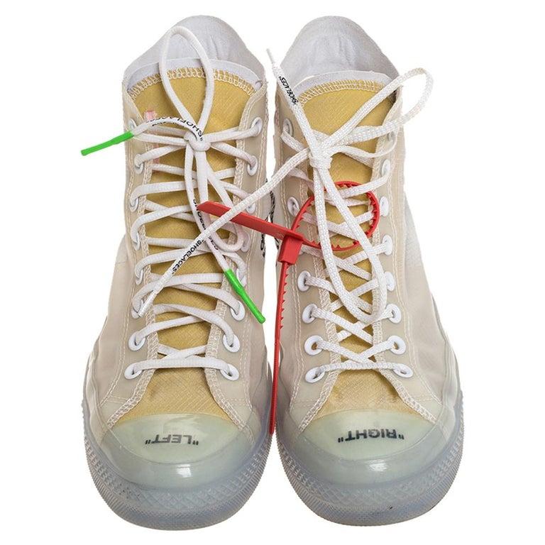 Off-White x Chuck Taylor All Star Mesh & Rubber Vulcanized Hi Top Sneaker Size45 In Good Condition For Sale In Dubai, Al Qouz 2