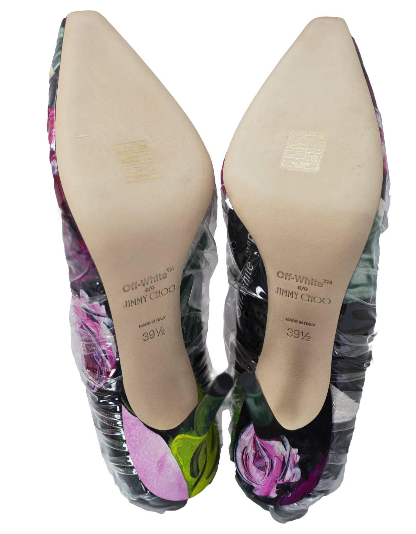 3f871027784 Off-White x Jimmy Choo Floral Printed Chisel Toe Anne 100 Pumps Sz 39.5 NIB  For Sale at 1stdibs