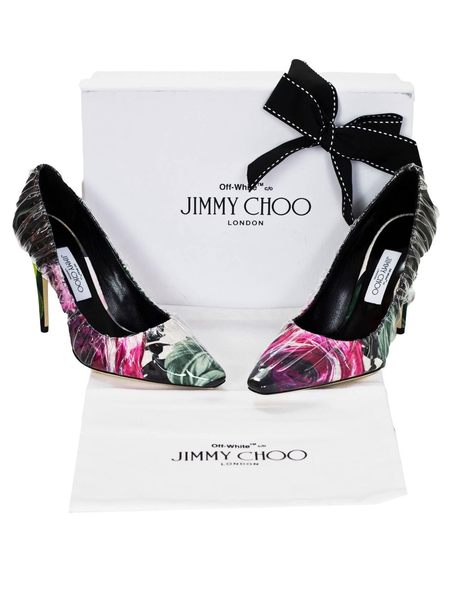 4d3f9f61d7d5 Off-White x Jimmy Choo Floral Printed Chisel Toe Anne 100 Pumps Sz 39.5 NIB  For Sale at 1stdibs