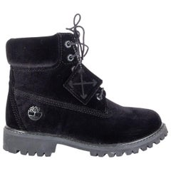 OFF-WHITE X TIMBERLAND black velvet Ankle Boots Shoes 37