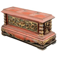 "Offering Box ""Chanab"", Carved and Polychrome Wood, 19th Century"