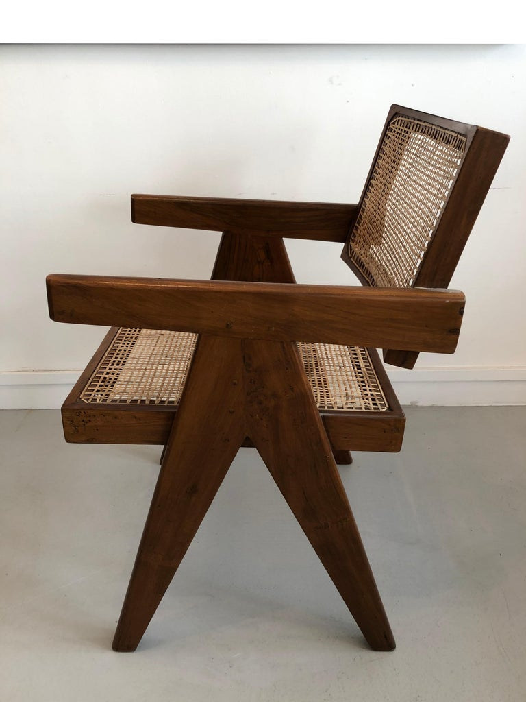 Mid-Century Modern Office Armchair by Pierre Jeanneret from Chandigarh, 1950s For Sale