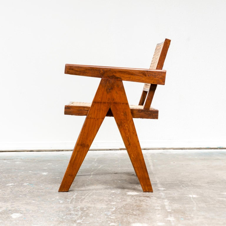 Mid-Century Modern Office Armchair by Pierre Jeanneret, India, 1950s For Sale