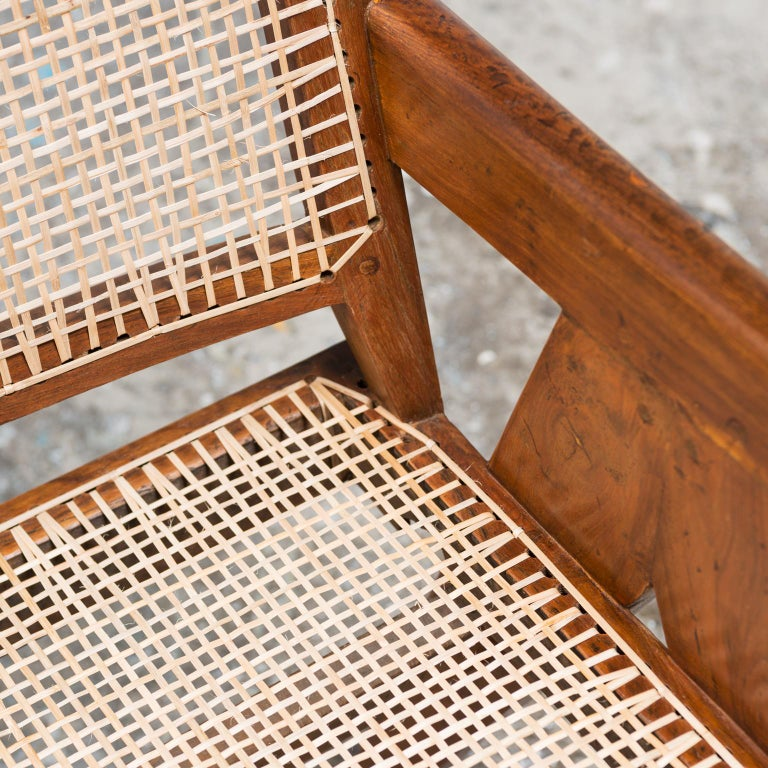 Cane Office Armchair by Pierre Jeanneret, India, 1950s For Sale
