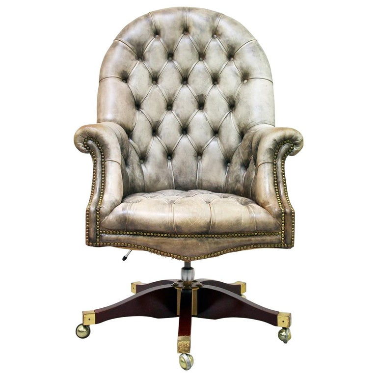 ab20c087db2a Office Chair Antique Chesterfield Armchair Office Armchair Leather Vintage  For Sale