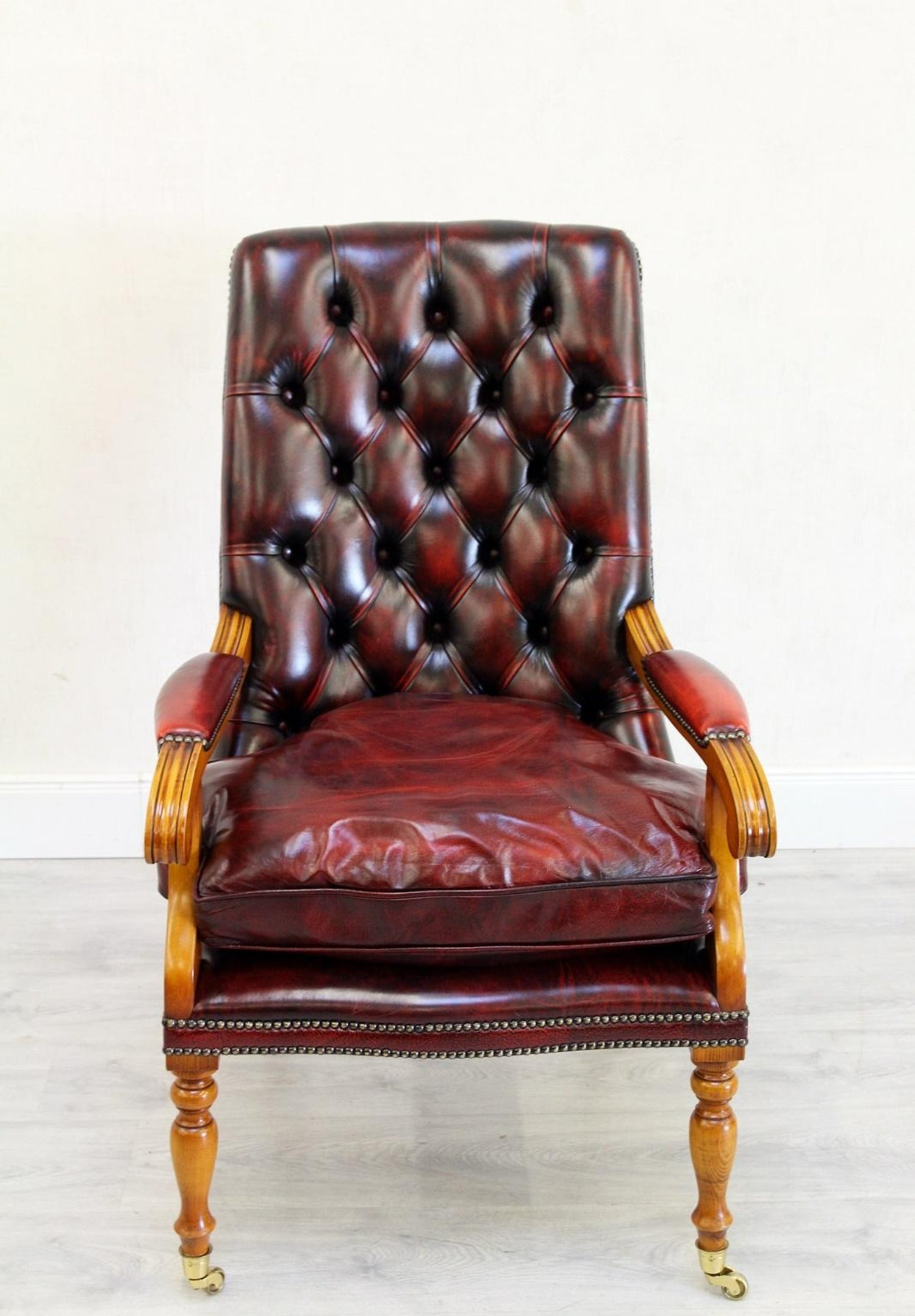 33386f6ee0b0 Office Chair Antique Chesterfield Armchair Office Chair Leather Vintage  Chair For Sale at 1stdibs
