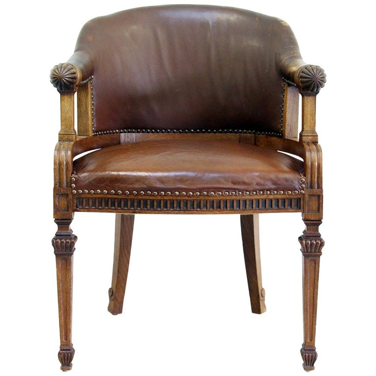 9324e2be1ca7 Office Chair Antique Early Days Armchair Office Armchair Leather Vintage  Chair For Sale