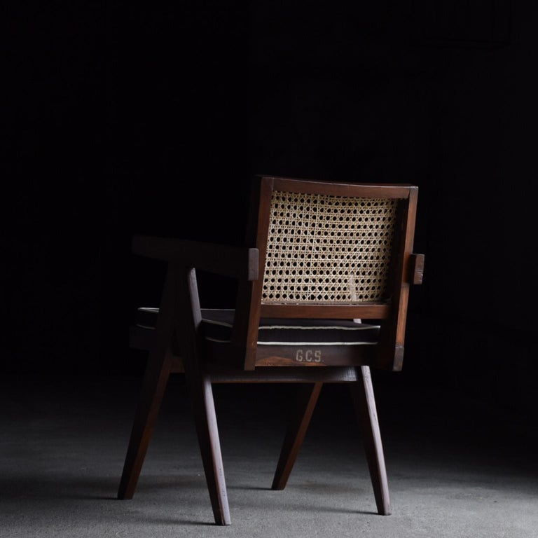 Rattan Office Chair by Pierre Jeanneret For Sale