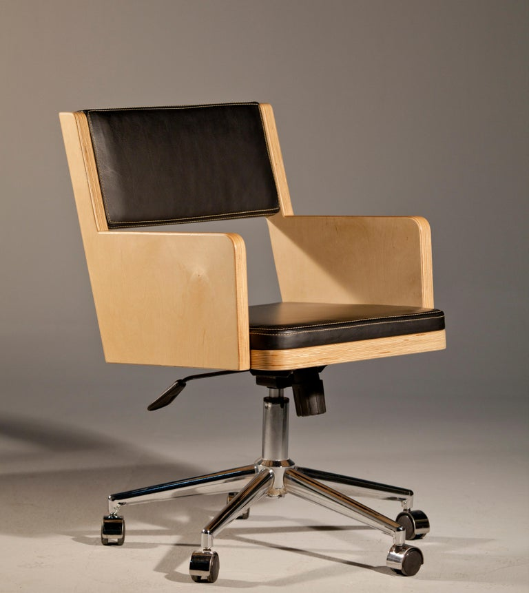 Contemporary Office Chair, International Style Wooden Office Chair For Sale