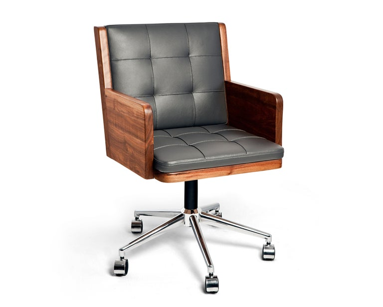 Leather Office Chair, International Style Wooden Office Chair For Sale