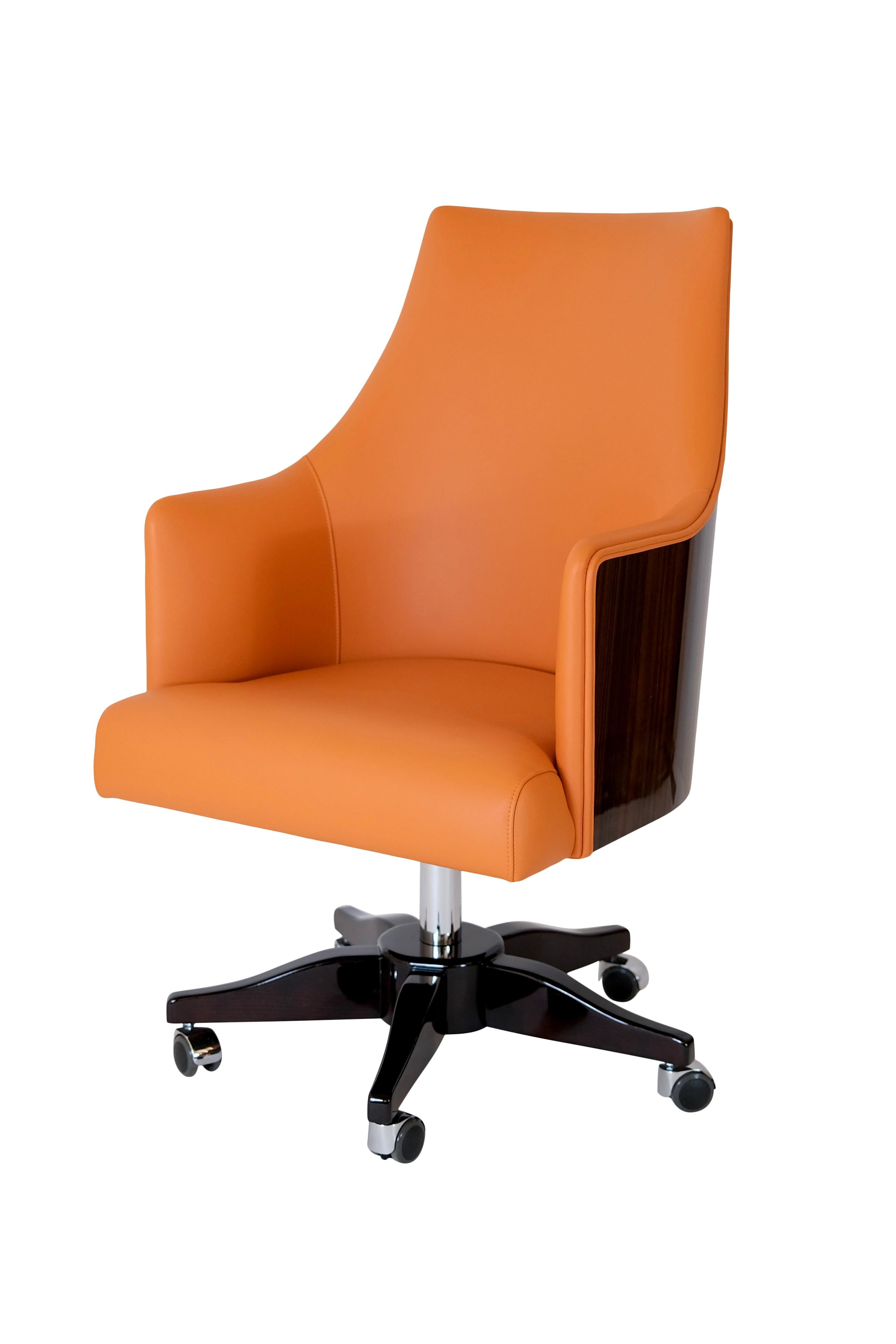 Office Chair in Leather and Real Wood Veneer in the Style of French Art Deco