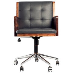 Office Chair, International Style Wooden Adjustable Office Chair