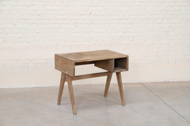 Indian Office Solid Desk by Pierre Jeanneret For Sale