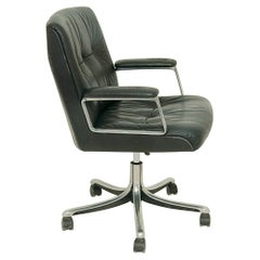 Office Swivel Armchair, with Wheels, by Osvaldo Borsani, Model P128, for Tecno