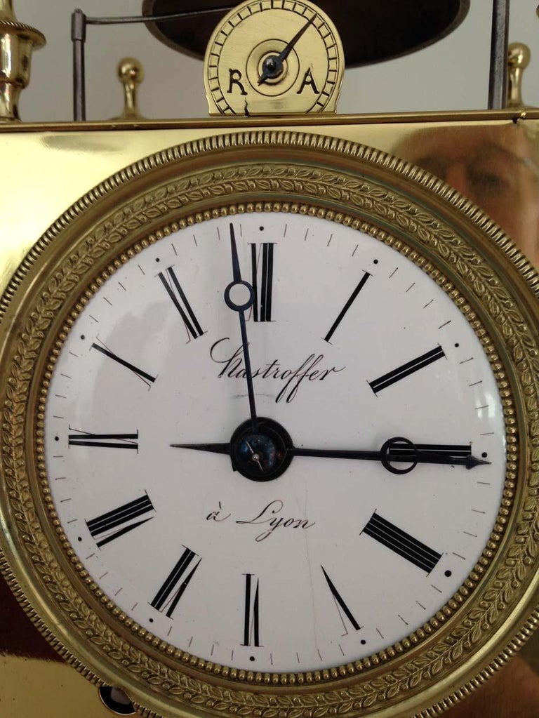 Polished French Capucine Clock Circa 1820 Hastroffer a Lyon For Sale