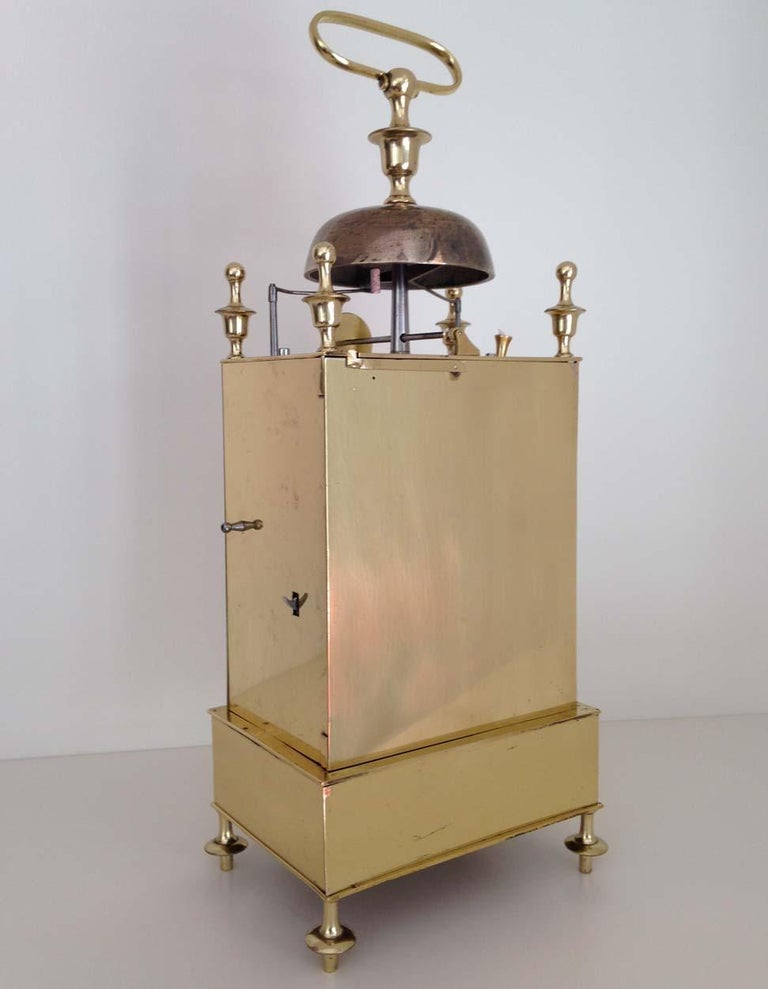 Brass French Capucine Clock Circa 1820 Hastroffer a Lyon For Sale
