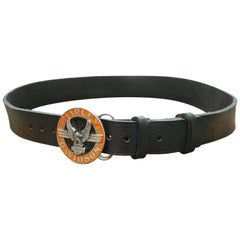 Official Harley Davidson Round Orange Enamel Eagle Buckle Leather Belt 1990s