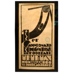 Official Uruguay 1930 F.I.F.A. World Cup Poster, Art Deco Football, Soccer