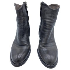 Officine Creative Grey Leather Ankle Boots, Size 39
