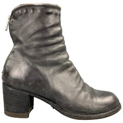 OFFICINE CREATIVE Size 8.5 Charcoal Distressed Leather Zipper Ankle Boots