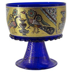 Officine di Murano 1295 Handmade Glass Cup Hand Decored 24kt Gold Leaf & Enamel