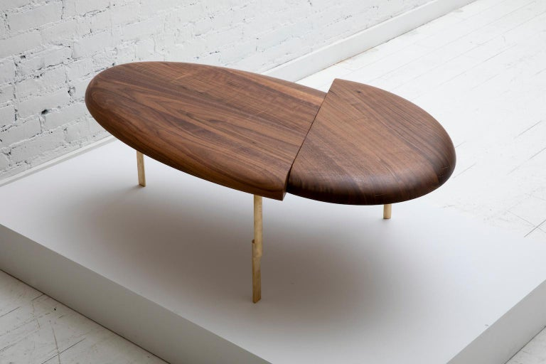 Offset Solid Wood Contemporary Sculptural Carved Coffee Table Walnut Brass For Sale 1