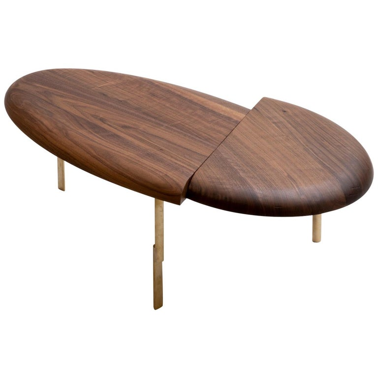 Offset Solid Wood Contemporary Sculptural Carved Coffee Table Walnut Brass For Sale