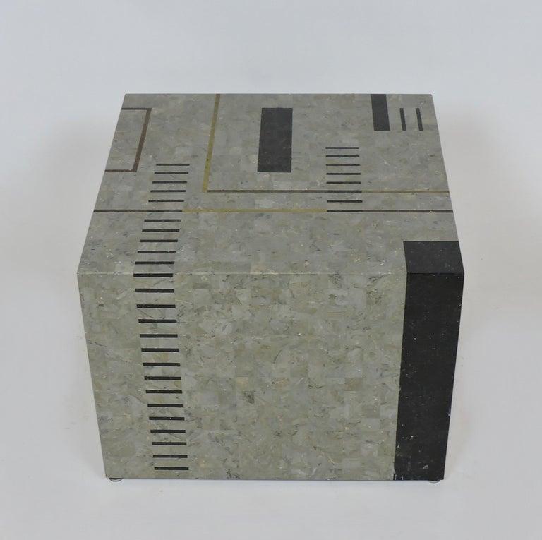Brass Oggetti Modernist Tessellated Stone