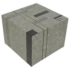 "Oggetti Modernist Tessellated Stone ""Mondrian"" Geometric Cube End Side Table"