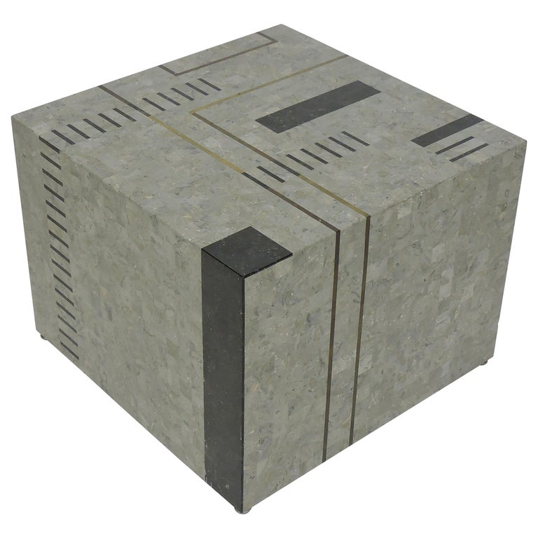 """Oggetti Modernist Tessellated Stone """"Mondrian"""" Geometric Cube End Side Table For Sale"""