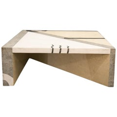 Oggetti Tavola Marble and Metal Inlay Coffee Table