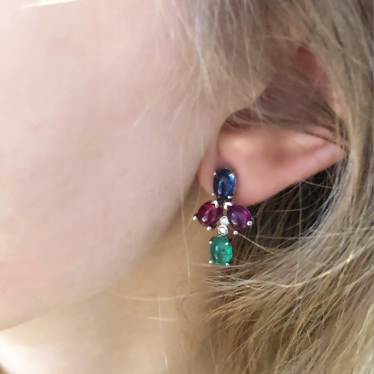 OGI Cabochon Emerald Sapphire Ruby Diamond White Gold Cluster Earrings In New Condition For Sale In New York, NY