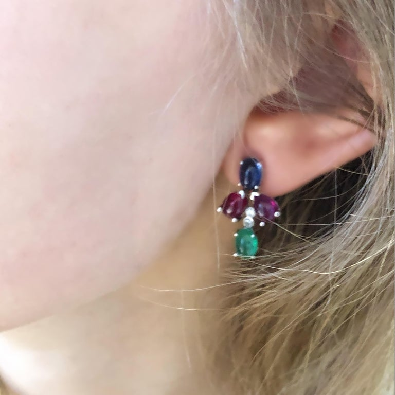 Women's OGI Cabochon Emerald Sapphire Ruby Diamond White Gold Cluster Earrings For Sale
