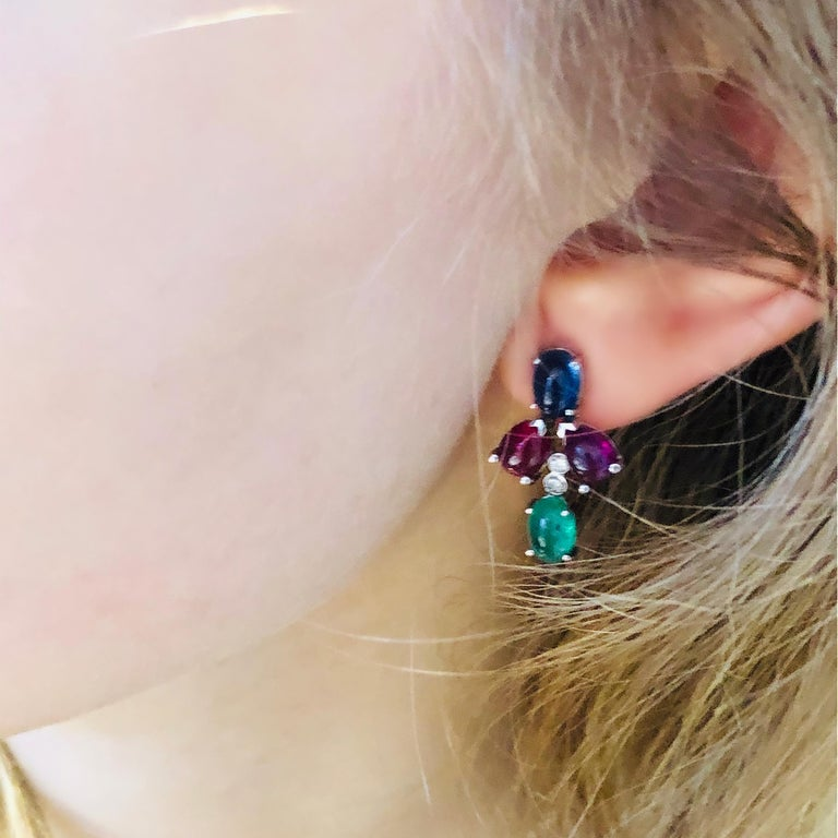 Contemporary OGI Cabochon Emerald Sapphire Ruby Diamond White Gold Cluster Earrings For Sale