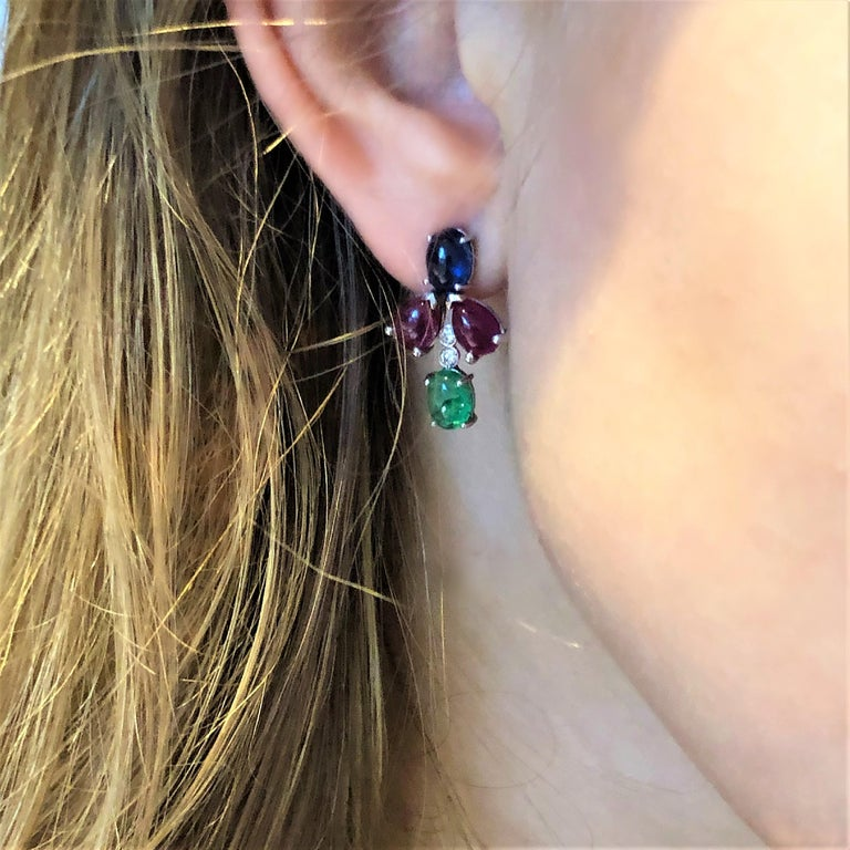 OGI Cabochon Emerald Sapphire Ruby Diamond White Gold Cluster Earrings For Sale 2