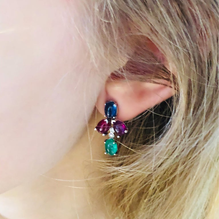 OGI Cabochon Emerald Sapphire Ruby Diamond White Gold Cluster Earrings For Sale 3
