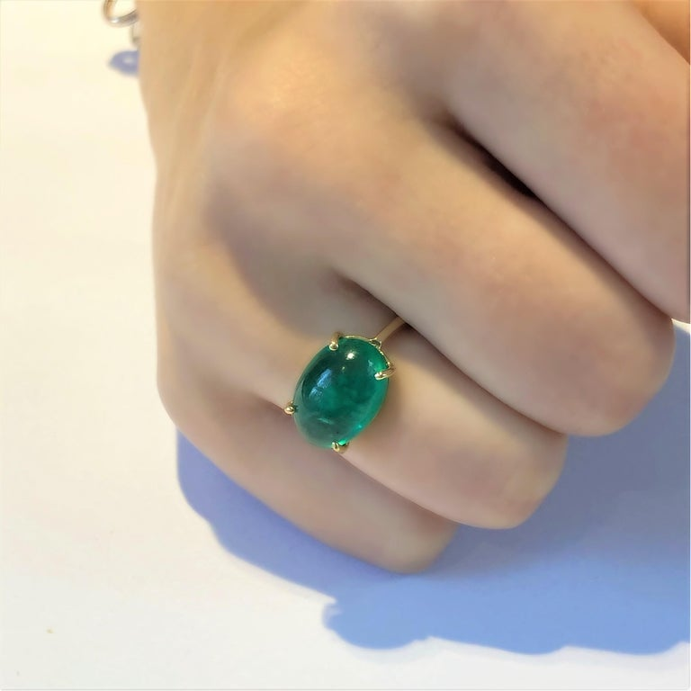 Oval Cut OGI Cabochon Emerald Set Sideway in Solitair Yellow Gold Cocktail Ring For Sale