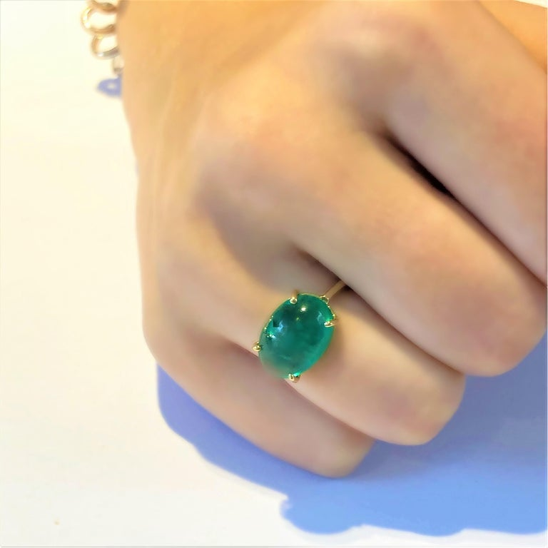 Women's OGI Cabochon Emerald Set Sideway in Solitair Yellow Gold Cocktail Ring For Sale