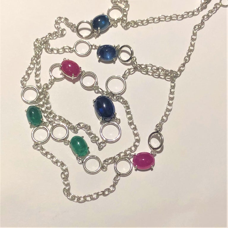Contemporary OGI Cabochon Sapphire Ruby Emerald Sautoir 40 Inch White Gold Necklace For Sale