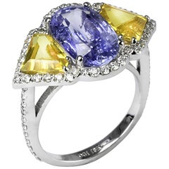 OGI Ceylon Sapphire Diamond 18 Karat White Gold Cocktail Cluster Ring
