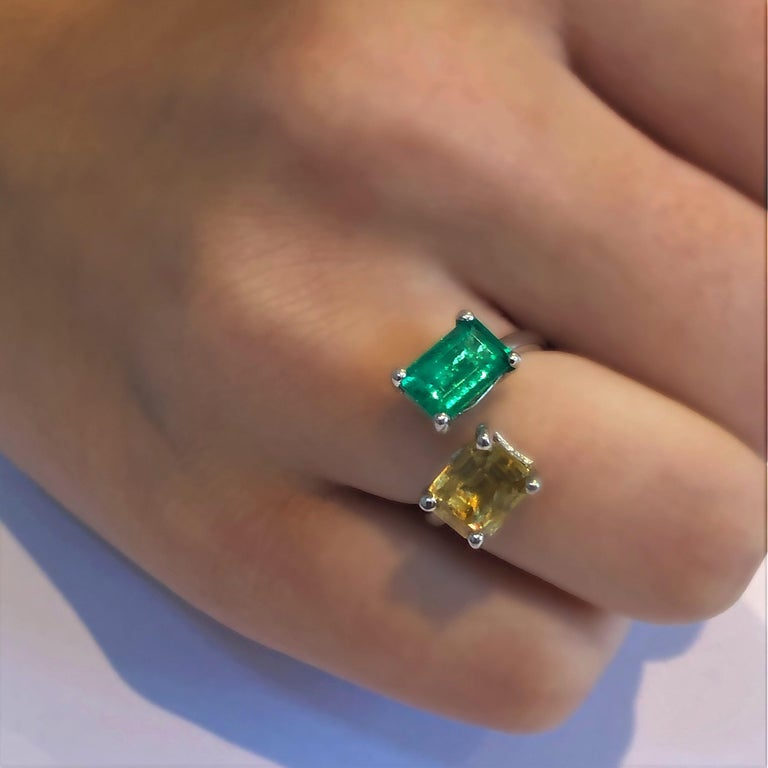 OGI EC Emerald and EC Yellow Sapphire Open Shank Modern Cocktail Ring For Sale 2