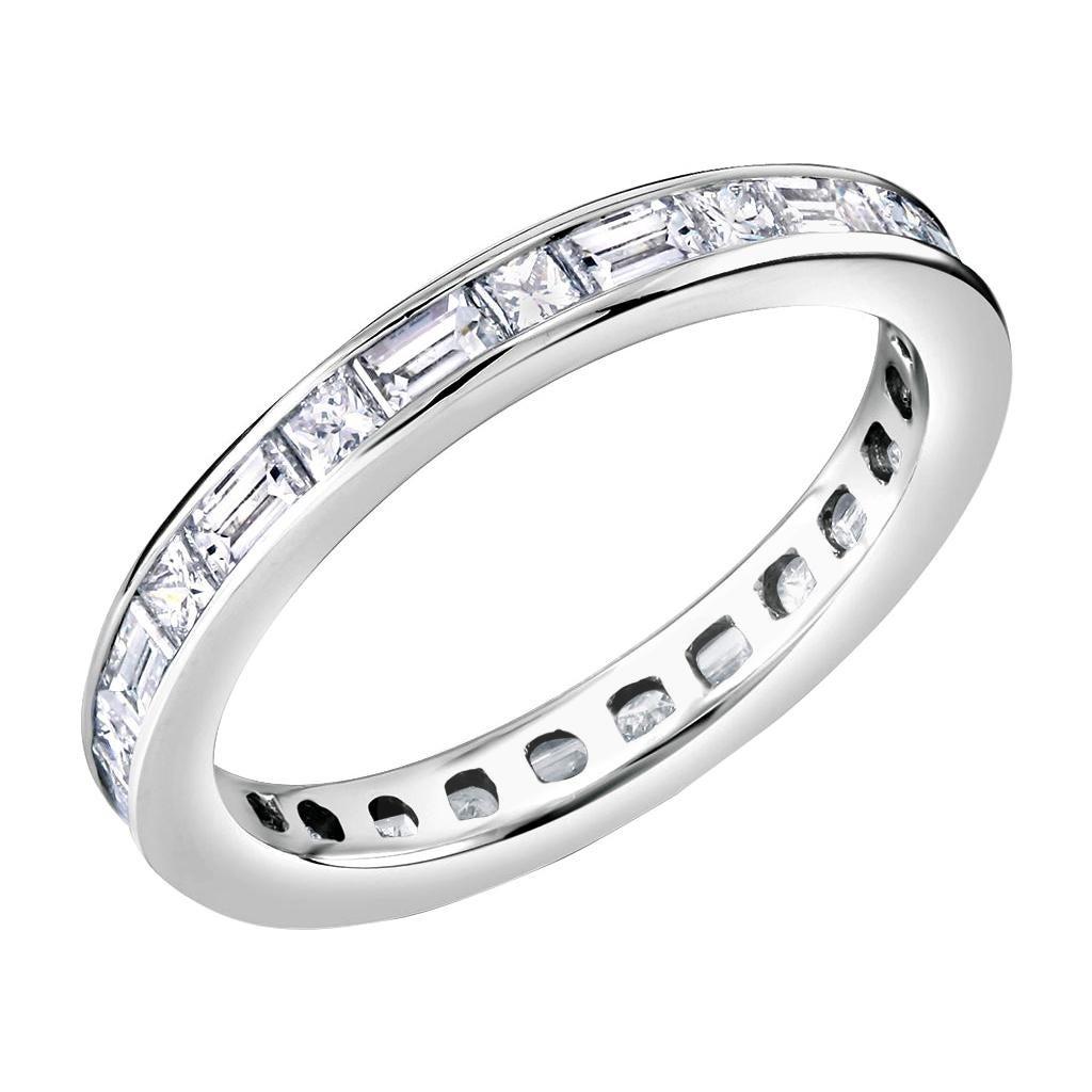OGI Platinum Baguette Diamond Alternating Princess Cut Diamond Eternity Ring