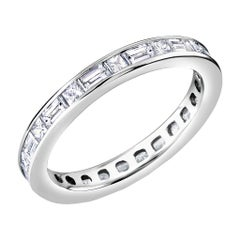 OGI Platinum Baguette Diamond Alternating Princess Cut Diamond Eternity Ring