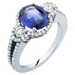 OGI Sapphire and Diamond Cluster White Gold Cocktail Ring Weighing 4.10 Carat